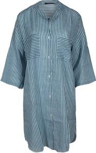 Niebieska sukienka Zwillingsherz w stylu casual koszulowa z kołnierzykiem
