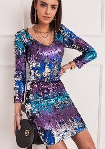 Sukienka SELFIEROOM mini z dekoltem w kształcie litery v z długim rękawem