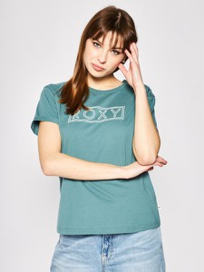 Zielony t-shirt Roxy z krótkim rękawem z okrągłym dekoltem