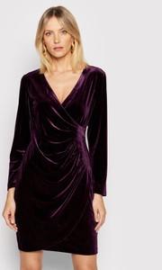 Fioletowa sukienka DKNY z długim rękawem