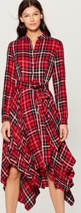 Czerwona sukienka Mohito midi w stylu casual