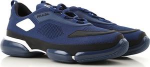 Niebieskie buty sportowe Prada ze skóry