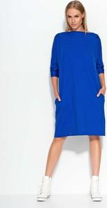b97970e3c2 rozkloszowana chabrowa sukienka - stylowo i modnie z Allani