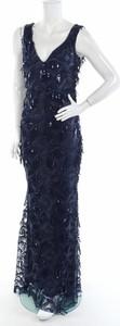 Granatowa sukienka Stephanie Pratt maxi z dekoltem w kształcie litery v