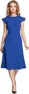 Niebieska sukienka MOE z okrągłym dekoltem midi rozkloszowana
