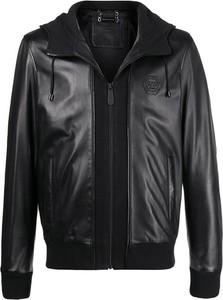 Czarna kurtka Philipp Plein w stylu casual ze skóry krótka