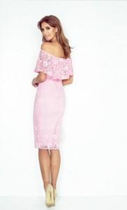 Różowa sukienka MORIMIA z krótkim rękawem hiszpanka midi