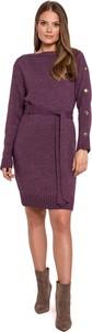 Fioletowa sukienka Makover z długim rękawem mini z okrągłym dekoltem