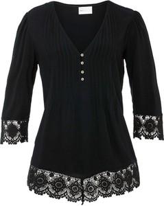 Czarna bluzka bonprix z długim rękawem z dekoltem w kształcie litery v
