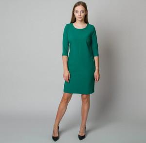 Zielona sukienka Willsoor mini z długim rękawem z okrągłym dekoltem