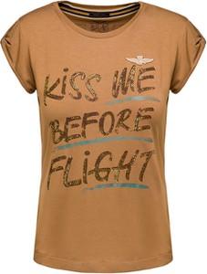 Brązowy t-shirt Aeronautica Militare z krótkim rękawem w militarnym stylu