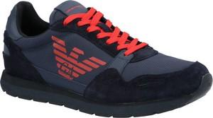 Buty sportowe Emporio Armani sznurowane ze skóry