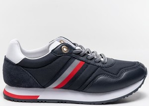 Czarne buty sportowe Tommy Hilfiger sznurowane ze skóry z płaską podeszwą