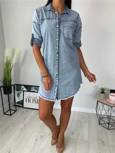 Niebieska sukienka ModnaKiecka.pl mini koszulowa z długim rękawem