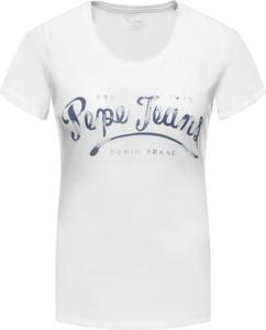 T-shirt Pepe Jeans w stylu casual z krótkim rękawem z okrągłym dekoltem