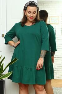 Zielona sukienka KARKO z bawełny trapezowa z długim rękawem