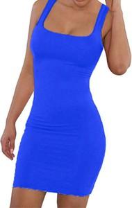 Niebieska sukienka Arilook dopasowana mini na ramiączkach