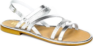 Srebrne sandały Verano ze skóry z klamrami z płaską podeszwą