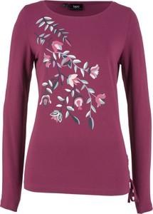 Różowa bluzka bonprix bpc bonprix collection z długim rękawem z okrągłym dekoltem w stylu casual