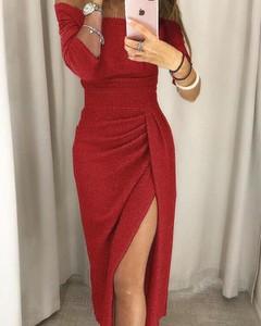 Czerwona sukienka Kendallme z długim rękawem