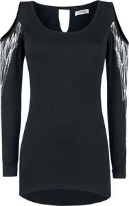 Czarna bluzka Emp z okrągłym dekoltem z długim rękawem w stylu casual