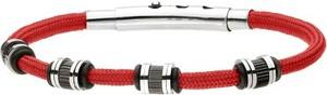 Manoki BA703C czerwona, męska bransoletka ze sznurka
