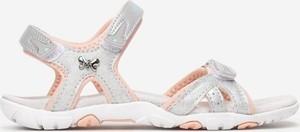 Srebrne buty dziecięce letnie born2be na rzepy