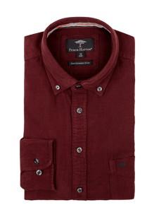 Czerwona koszula Fynch Hatton z kołnierzykiem button down z długim rękawem z bawełny