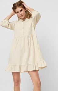 Sukienka Vero Moda z długim rękawem z okrągłym dekoltem trapezowa