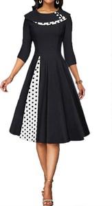 Czarna sukienka Arilook z długim rękawem midi