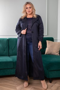 Granatowy płaszcz KARKO z tkaniny w stylu casual bez kaptura