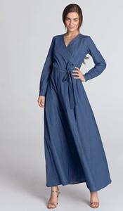 Sukienka Nife kopertowa z dekoltem w kształcie litery v z bawełny