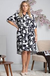 Sukienka KARKO z długim rękawem w stylu casual z tkaniny