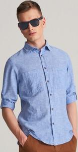 Niebieska koszula Reserved z bawełny