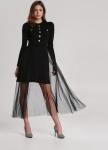 Czarna sukienka Renee midi z długim rękawem