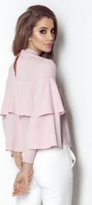 Różowa bluzka Ivon z golfem z tkaniny