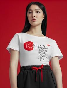 T-shirt 4F z dzianiny w młodzieżowym stylu z okrągłym dekoltem