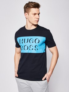 Niebieski t-shirt Hugo Boss z krótkim rękawem