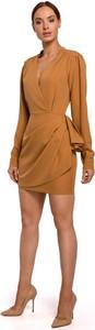 Brązowa sukienka MOE mini z tkaniny z długim rękawem