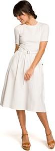 Sukienka Be z krótkim rękawem midi z okrągłym dekoltem