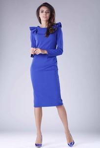 Niebieska sukienka Nommo z okrągłym dekoltem