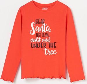 Pomarańczowa koszulka dziecięca Reserved z długim rękawem z bawełny