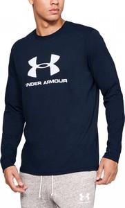 Granatowy t-shirt Under Armour z długim rękawem z bawełny