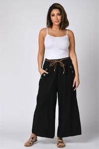 Czarne spodnie Plus Size Company z lnu