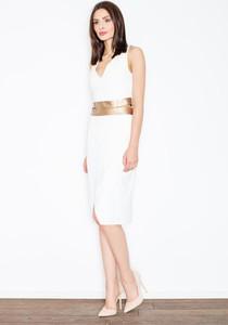 Sukienka Figl midi dopasowana z dekoltem w kształcie litery v