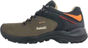 Zielone buty trekkingowe Kaiteki z płaską podeszwą ze skóry