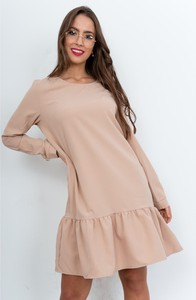 Różowa sukienka ZOiO.pl z bawełny w stylu casual z okrągłym dekoltem