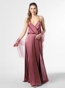 Różowa sukienka Unique maxi na ramiączkach kopertowa