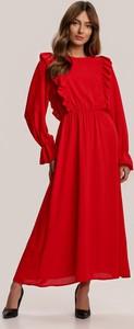 Czerwona sukienka Renee z długim rękawem maxi