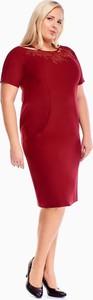 Czerwona sukienka Fokus z okrągłym dekoltem ołówkowa z krótkim rękawem